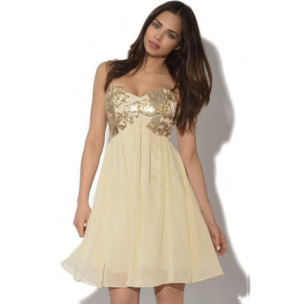 Embellished Bandeau Prom Dress ($64) ❤ liked on Polyvore featuring dresses, cream, beige cocktail dress, gold sequin cocktail dress, sequined dresses, gold prom dresses and gold dress