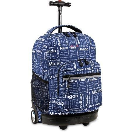 Road Trip Navy Kids Rolling Backpack Recessed 3 Stage Locking Handle Polyester