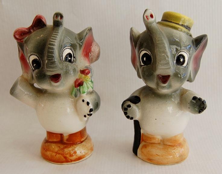 Enesco Anthropomorphic Elephants salt and pepper shakers.