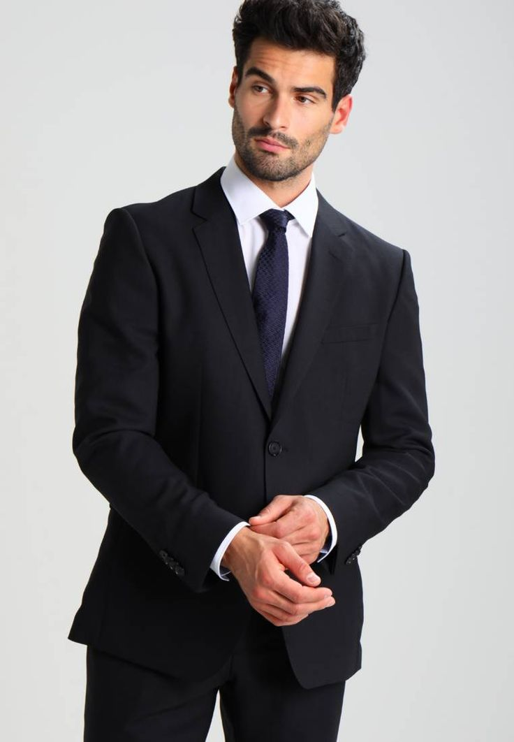 """HUGO. JEFFREY SIMMONS - Suit - black. Outer fabric material:100% wool. Pattern:plain. Care instructions:Dry clean only. Sleeve length:long,25.0 """" (Size 40R). Back width:19.5 """" (Size 40R). outer leg length:42.0 """" (Size 40R). Rise:normal..."""