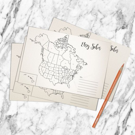 COLORING MAP - ETSY SALES MAP   Every piece is handmade and edit through computer softwares to guarantee the quality and style our customers are looking for.  Make this coloring map part o...