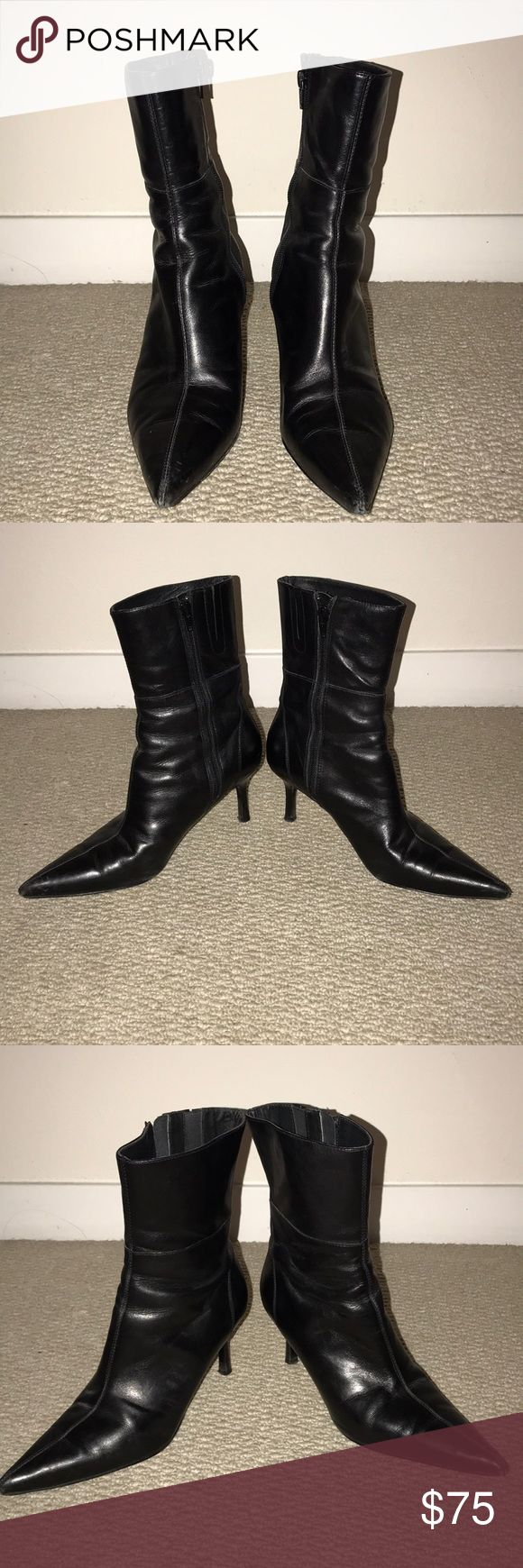 Charles David Boots Used black heeled boots that goes up to mid shin by Charles David. Size 7.5B Worn several times but still in good condition. Charles David Shoes Heeled Boots