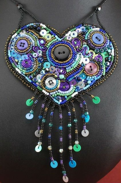 Beady heart necklace by saturday sequins i bead