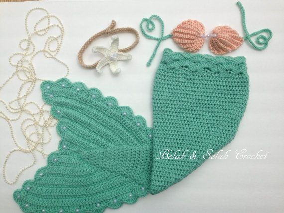 Crochet Mermaid tail with Top and Starfish by BellaandSelah