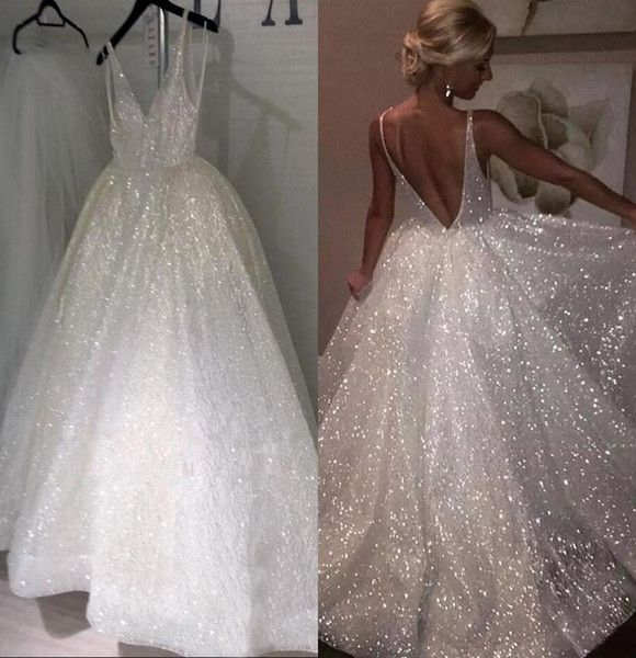 Sparkle Sequined White Lengthy Marriage ceremony Clothes 2019 Deep V Neck Horny Low Again Bridal Clothes Low cost Pageant Particular Event Robes For Weddings
