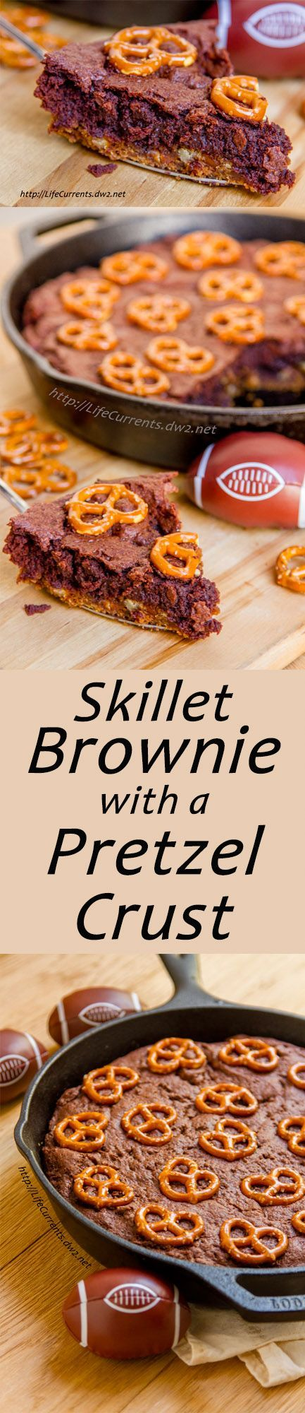 Skillet Brownies with Pretzel Crust: this tailgating snacks month dessert is totally worthy of tailgating and football parties, I mean you've got a big pretzel cookie crust topped with an espresso bittersweet brownie all baked in a skillet. Nosh on!