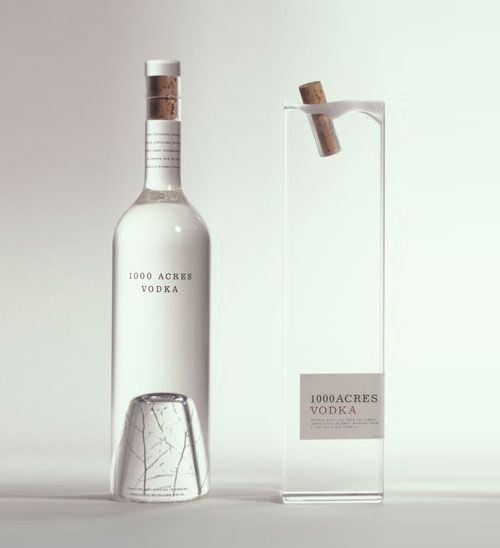 1000 Acres Vodka. I love the subtle tree at the bottom of the bottle