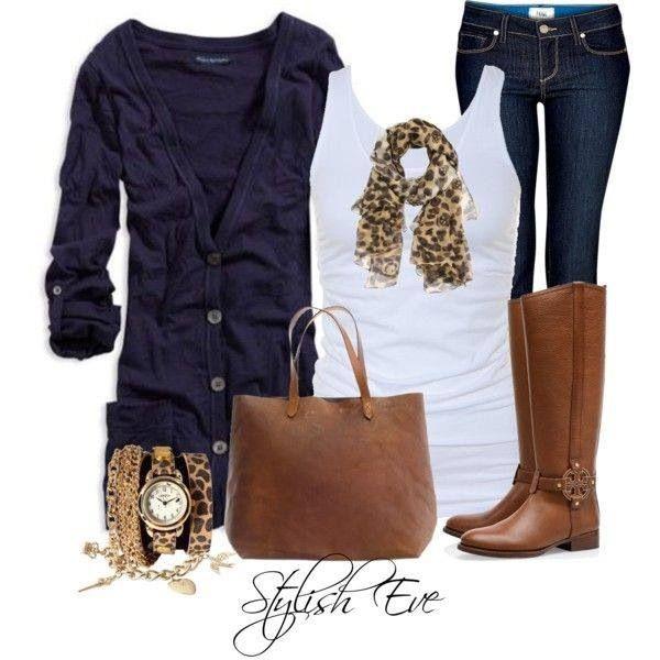 Dark jeans, white tank top, dark blue cardigan, leopard print scarf, brown boots, brown purse, neutral accessories. (Work)