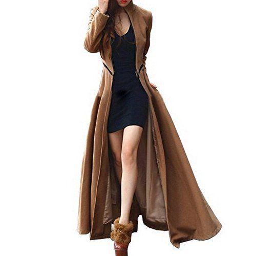 FOREVER YUNG Fall Winter Maxi Coat for Women Work Casual Wool Long Peacoat