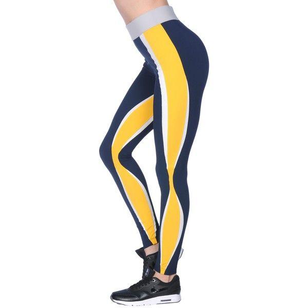No Ka 'oi  Leggings (€165) ❤ liked on Polyvore featuring pants, leggings, dark blue, multi colored pants, faux-leather pants, mid rise pants, multi coloured leggings and dark blue leggings