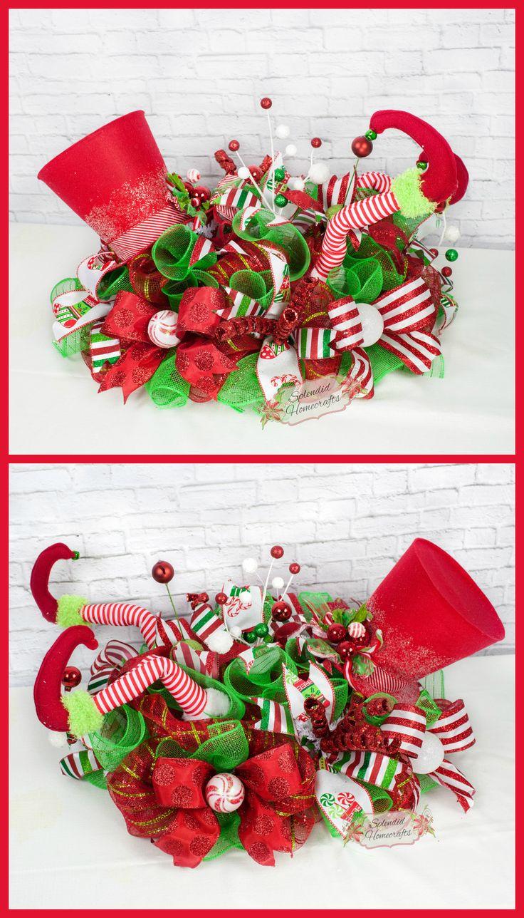 Elf Centerpiece, Christmas Centerpiece, Elf Legs Decor, Top Hat Elf Centerpiece, Traditional Christmas Centerpiece, Elf Table Decor by Splendid Homecrafts on Etsy
