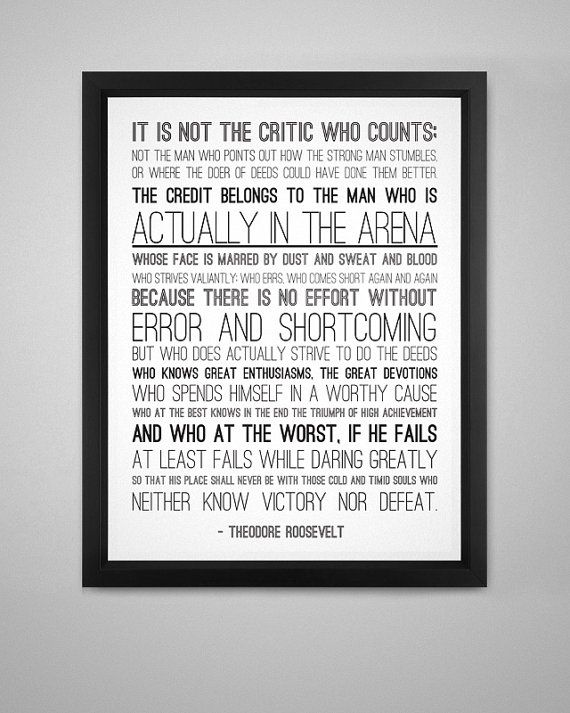 Man in the Arena Print  PDF Version by CoreSolutions on Etsy, $10.00