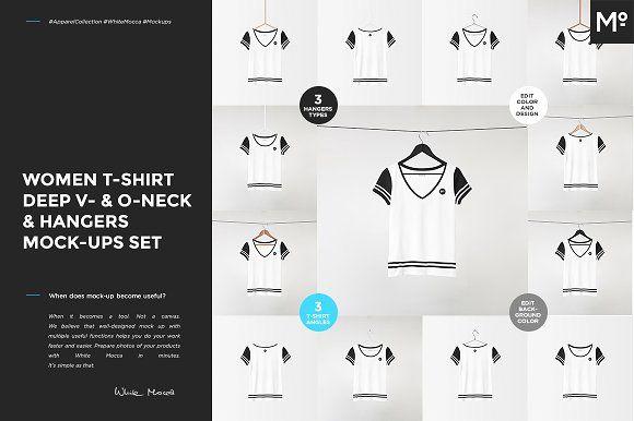 V-& O-Neck Tshirt & Hangers Mock-ups by Mocca2Go/mesmeriseme on @creativemarket