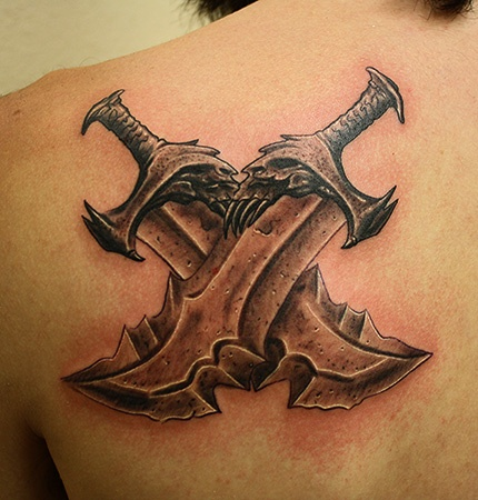God of war tattoo tattoos by daniel chashoudian for Gears of war logo tattoo