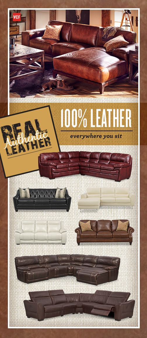 Everywhere you sit is real authentic leather. No more of the fake stuff! At Value City Furniture, we've got the perfect leather sofas and sectionals for your home!