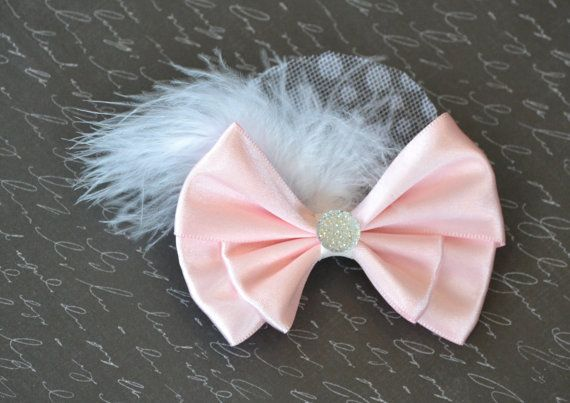 Pink Satin Hair Bow Clip with Feathers Tulle and by LadybugBowShop, $8.95