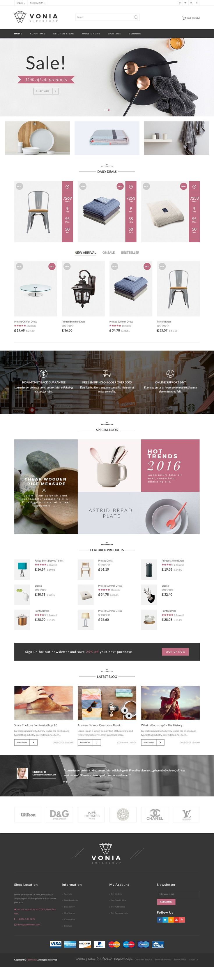 Vonia Responsive #Prestashop Theme is dedicated to interior design and furniture Shop #Website. It comes with 4 stunning homepage layouts. #eCommerce