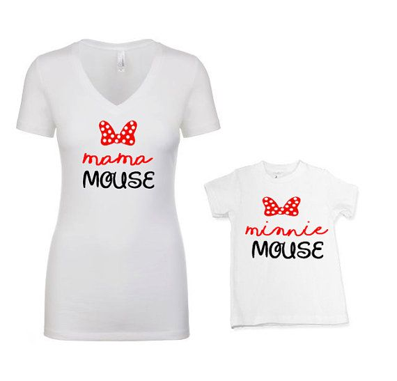 f229b01189 Mama Mouse Minnie Mini Mouse Cute Mother Daughter Matching Shirts  DisneyWorld Mickey Mouse baby tod   Products   Mother daughter matching  shirts, ...