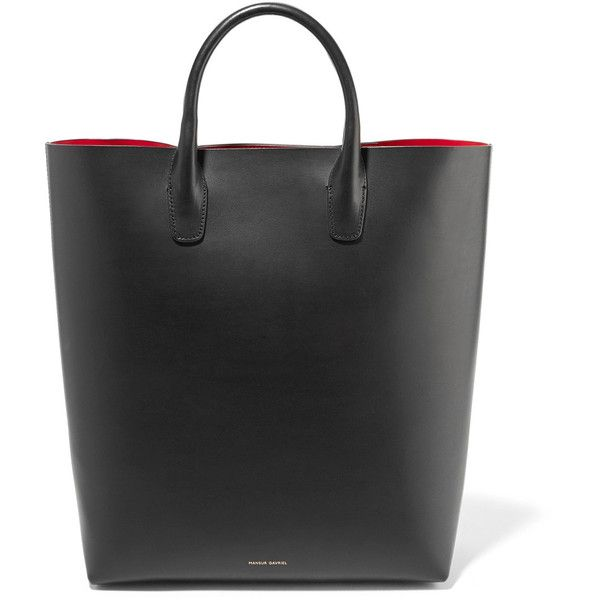 Mansur Gavriel North South leather tote (975 BAM) ❤ liked on Polyvore featuring bags, handbags, tote bags, black, handbags totes, leather tote, laptop tote bag, tote purses and leather laptop tote