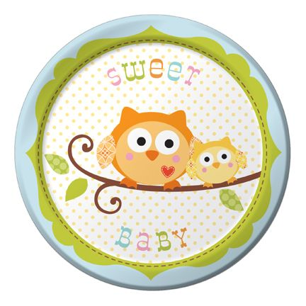 "Happi Tree Dessert Plate Baby Boy (includes 8 pcs of 7"" round paper plates in a pack)"