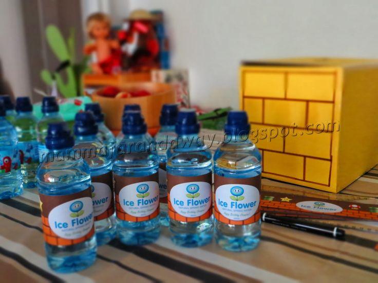 Bottigliette d'acqua per festa di compleanno Mario Bros