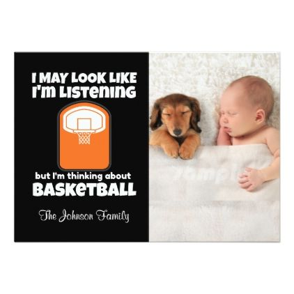 Thinking About Basketball Funny Card - invitations custom unique diy personalize occasions