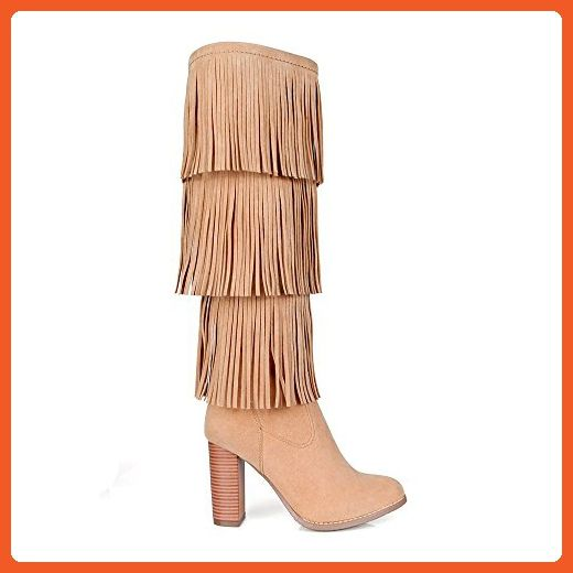 Fahrenheit Benson-07 3-Layer Fringed Women's High Heel Boots in Tan - Boots for women (*Amazon Partner-Link)