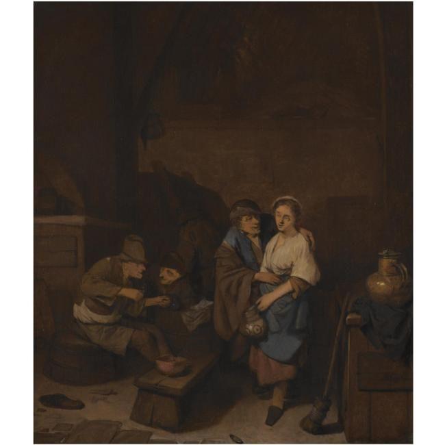 Бега Корнелис Питерс (Bega, Begga, 1620-1664) - Сцена в таверне с пьющими крестьянами (Частная коллекция)