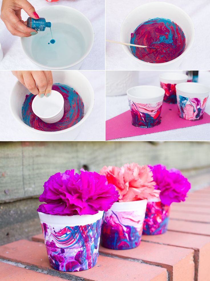 Nail Polish Marble Effect Favour Pot DIY Tutorial Mini plant pots//Nail polish// Bucket of water Step 1: Fill bucket with water. Step 2: Pour in nail varnish, letting it spread across the top of the water. Give it a little mix or shake to blend the colours. Step 3: Dip your pot in the water, leaving the ridge free. Step 4: Leave to dry.
