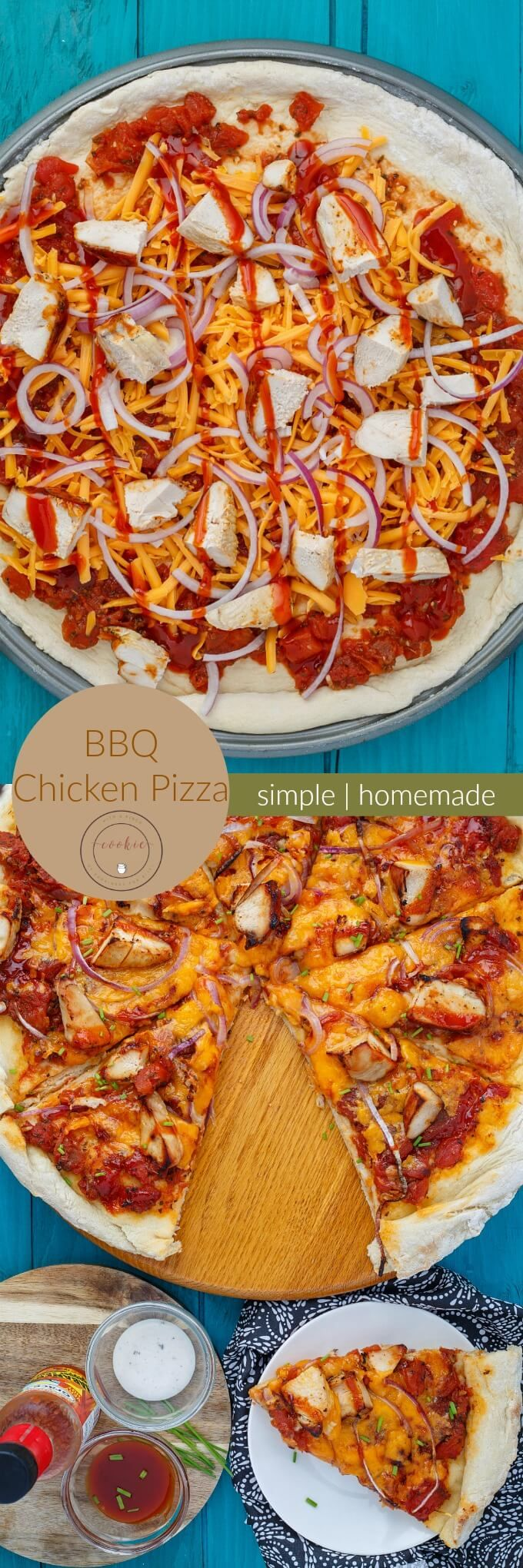BBQ Chicken Pizza with Mushrooms and Onions | http://thecookiewriter.com | #pizza #chicken #homemade