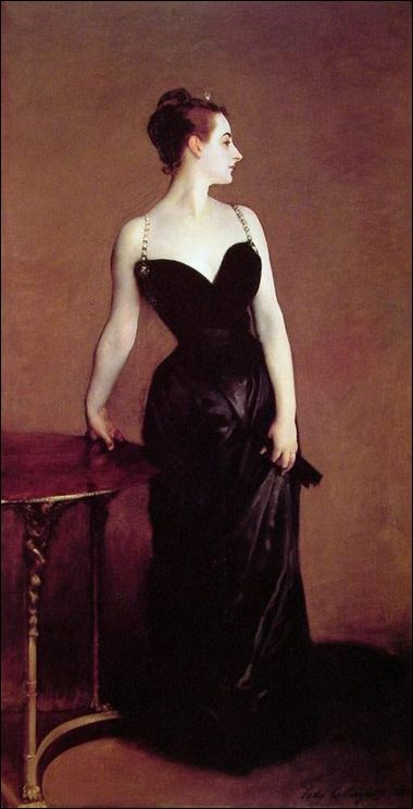 Madame X was originally painted by Sargent with one of the gown's straps hanging loosely off her right shoulder.    That, combined with the plunging neckline, cinched waist, and impudently turned wrist makes it easier to understand the reaction of the 19th century French upper crust which considered this portrait scandalous.