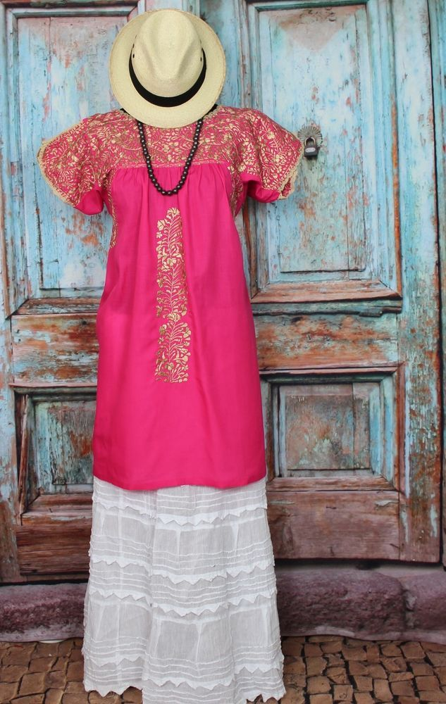 Hot Pink & Gold Colored Hand Embroidered Mexico San Antonio Wedding Boho, Hippie #Handmade #MiniDress