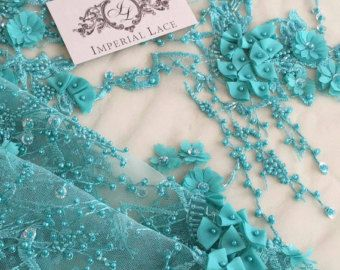 Blue with flowers 3D fabric Luxury hand made pearl by ImperialLace
