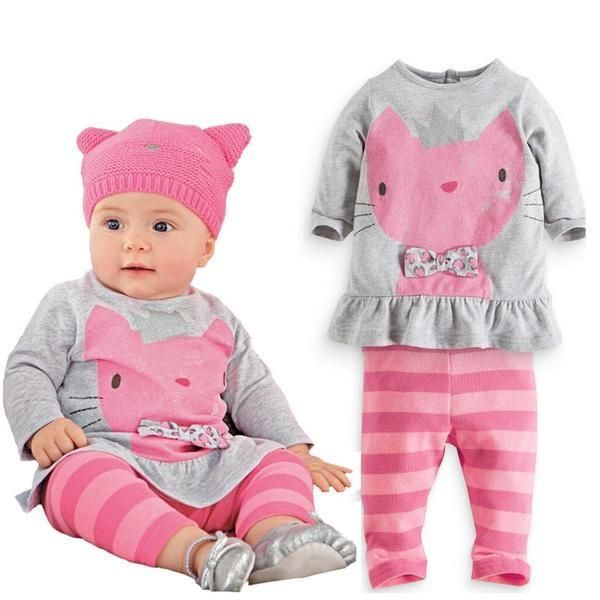 Autumn Pink Kitty Outfit for Babies!