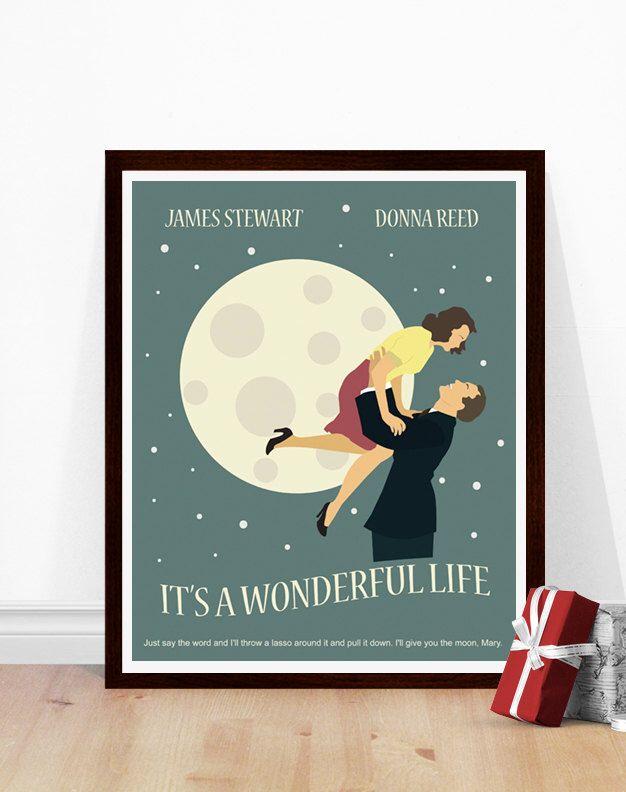 It's a Wonderful Life Poster, Minimalist Movie Poster, Christmas Movie Poster, Art Print, 1940s Movie Art by PoppermostPrints on Etsy https://www.etsy.com/listing/478979018/its-a-wonderful-life-poster-minimalist