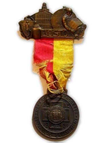 32Nd Encampment United Spanish War Veteran 1931 Boston Ma Ribbon Badge Pin*D569