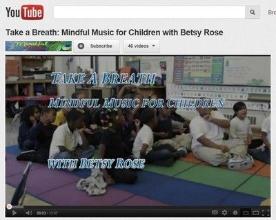 "free mp3 of ""If You're Happy Take a Breath"" from Take a Breath: Mindful Music for Children with Betsy Rose. See the Youtube video for an extended version of the song & more mindfullness songs and activities for kids: http://www.youtube.com/watch?v=9iF7J2zlvtI. This audio clipis from her website: http://www.betsyrosemusic.org/programs/for-youth     She has great music to use in kids wellness & kids yoga classes"
