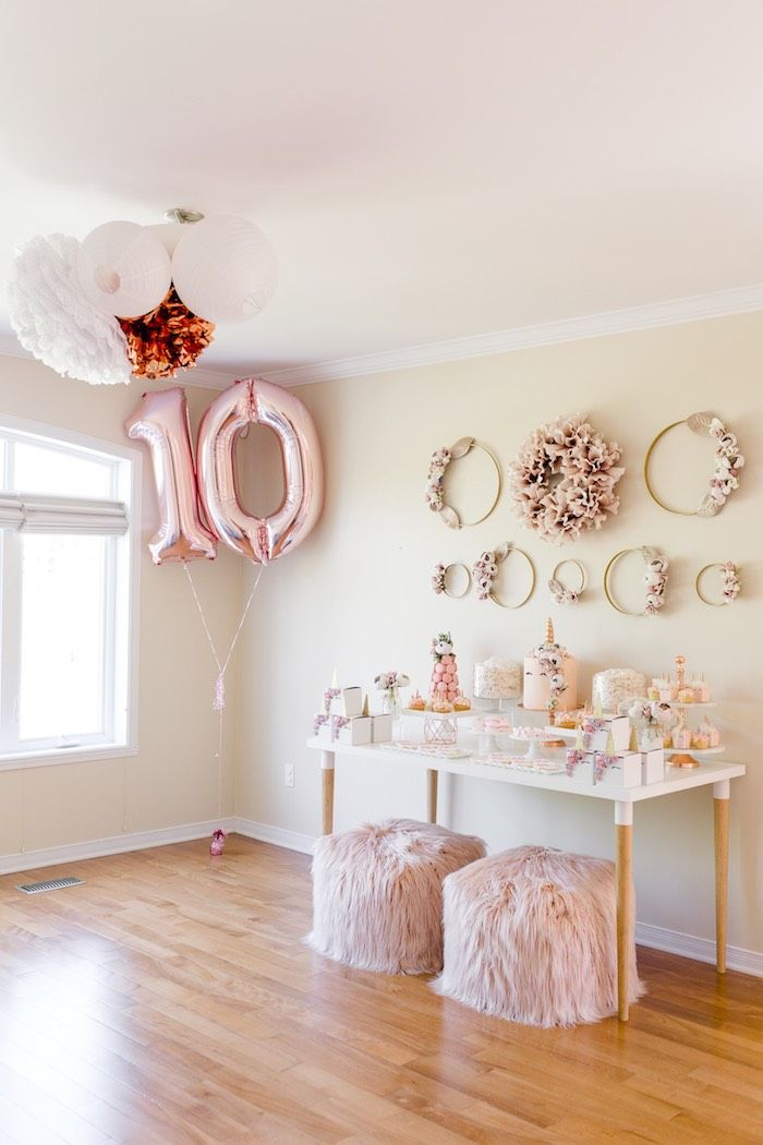 Rose Gold Blush Pink Unicorn Party Kara S Party Ideas Pink Unicorn Party Gold Birthday Party Rose Gold Party