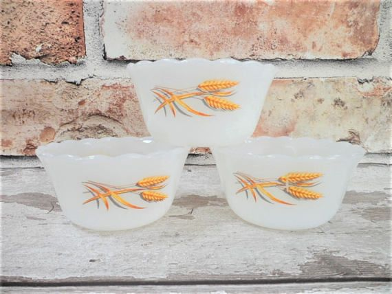 Fire King USA Milk Glass Serving Bowl Trio Vintage Mid-Century