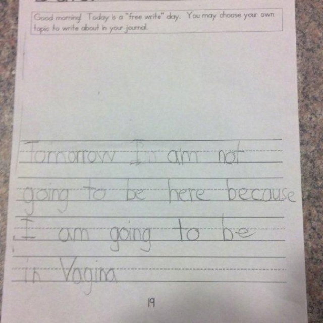 Inappropriate test answers from kids