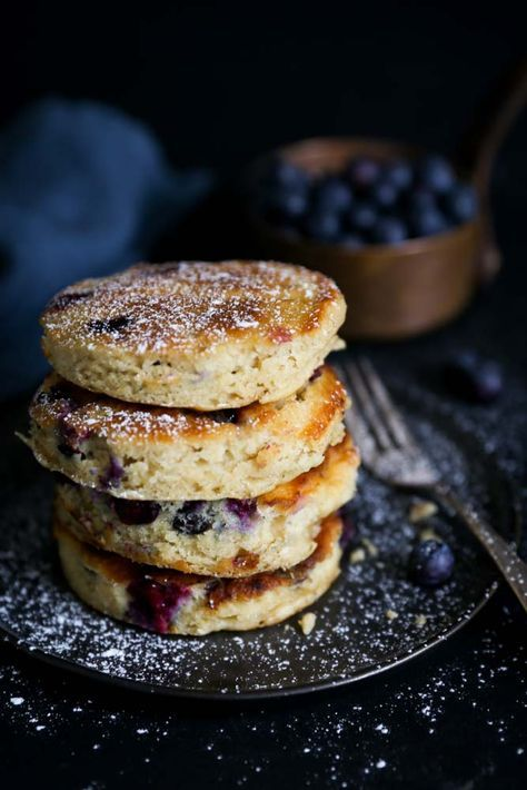 Blueberry spelt pancakes. These incredibly fluffy pancakes are made with spelt flour and coconut milk! By My Spelt Recipes