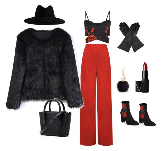 Winter outfit by lawastyle on Polyvore featuring Chicwish, WearAll, Steve Madden, Dents, Yves Saint Laurent, Furla and NARS Cosmetics