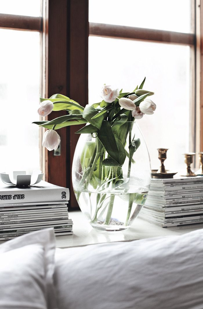tulips, magazines and white cotton