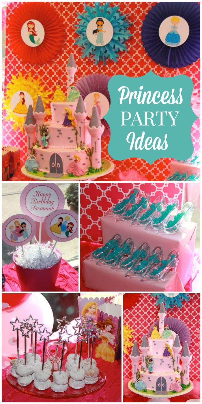A Disney Princess birthday party featuring six princesses with a fantastic backdrop and cake!  See more party planning ideas at CatchMyParty.com!