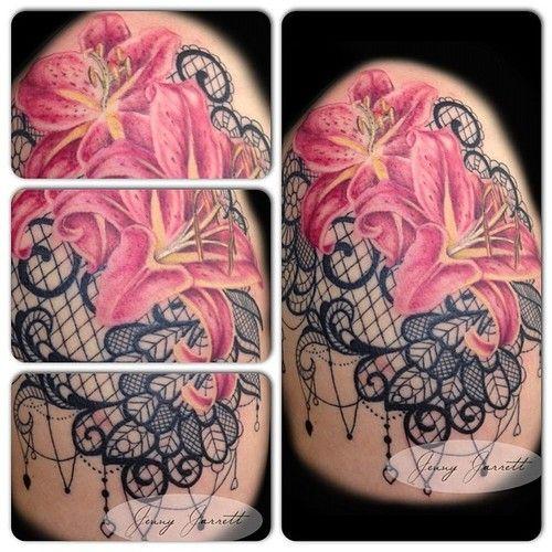 <b>Flower</b> & <b>Lace</b> by Jenny Jarrett @jjarrett22 #flowertattoo #lacetattoo # ...