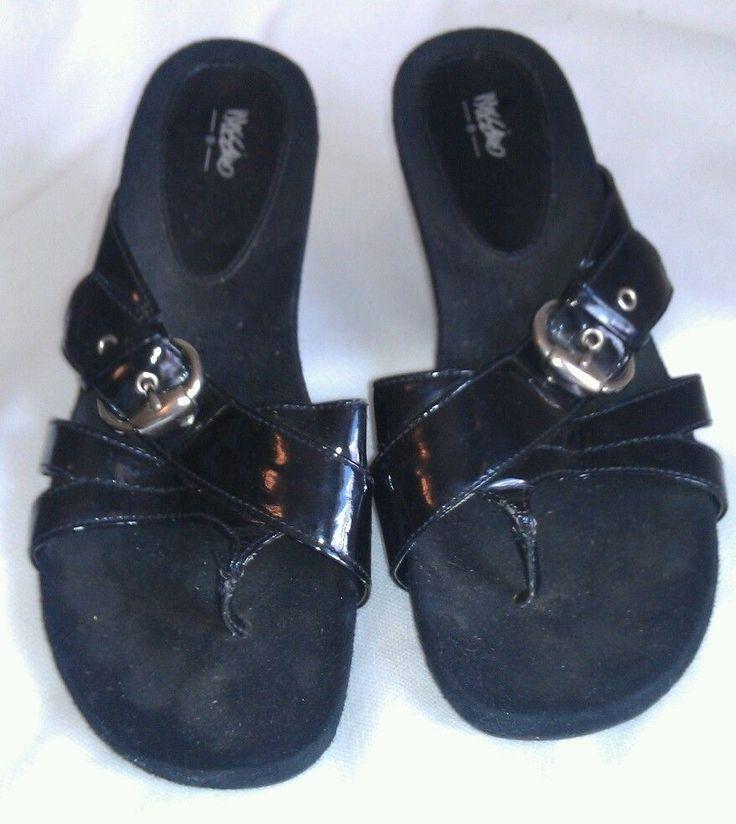 """Women's Brown Dockers size 9M leather upper 1.5"""" cuban heel slip on"""