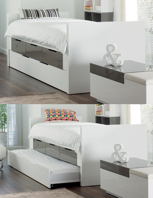 Buddy bed with storage drawers and pull out bed stone and white £899