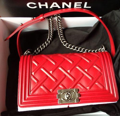 100 Authentic Chanel Boy 2013 Lipstick Red Quilt Shoulder Bag Limited    Chanel Boy Bag Red 2013