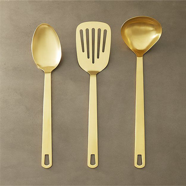 set of 3 brushed gold kitchen utensils | CB2