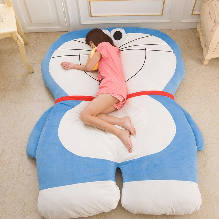 200 * 150 см большой Doraemon плюшевые кровать мягкая кровать японский аниме милый мультфильм дети подушка татами матрас дети украшения мат Pad купить на AliExpress